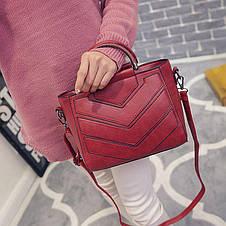 Женская сумка с ручками и ремешком серая, фото 3