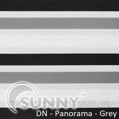 Рулонные шторы для окон День Ночь в закрытой системе Sunny с П-образными направляющими, ткань  DN-Panorama