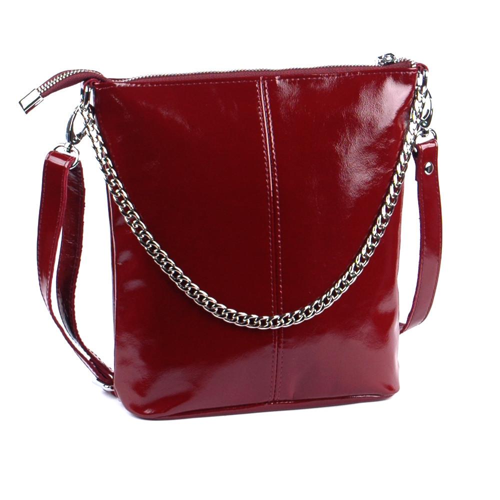 Женская кожаная сумочка-кроссбоди 41 бордо наплак 01410304