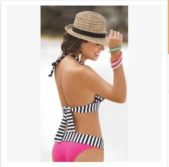 Роздільний купальник жіночий халтер рожевий, фото 2