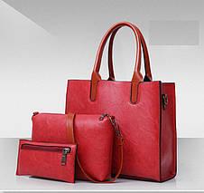 Женская сумка из экокожи набор 3в1 серый, фото 2