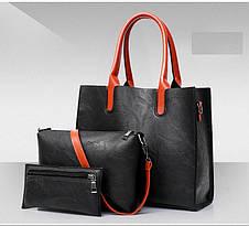 Женская сумка из экокожи набор 3в1 серый, фото 3