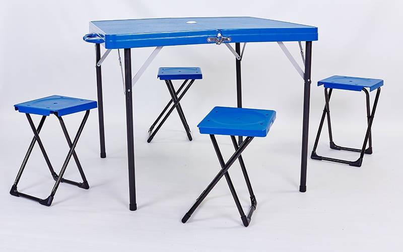 Компактный складной стол для пикника пластиковый с 4 стульями Zelart TO-8833 (синий)