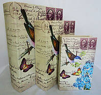 Шкатулка книга н-р из 3х – Птица и синие цветы SH31079