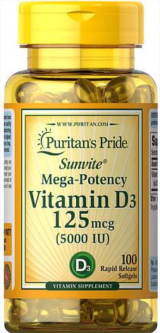 Витамин D3 для костей и зубов Puritan's Pride Vitamin D3 125 mcg 5000 IU 100 softgels, фото 2