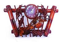 Часы из натуральной кожи и бамбука-Трапеция ЧК26