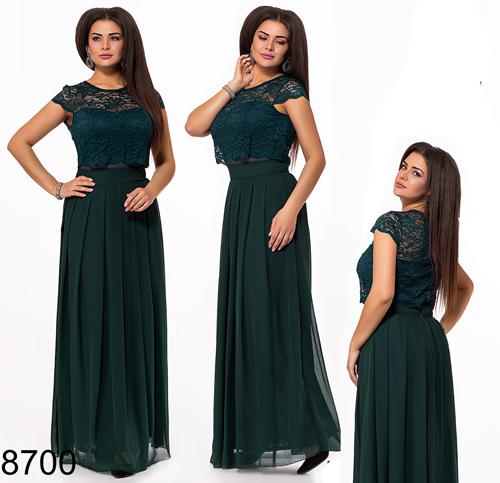 f1d13c7ca5d Купить Выпускное длинное платье из шифона с гипюром (марсал) 828699 ...