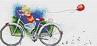 Набор для вышивания крестиком Мальчик на велосипеде. Размер: 28,5*13,5 см