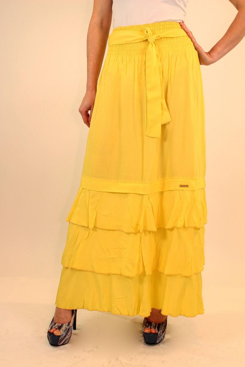Длинная юбка с воланами 42-48 р ( красный, желтый )