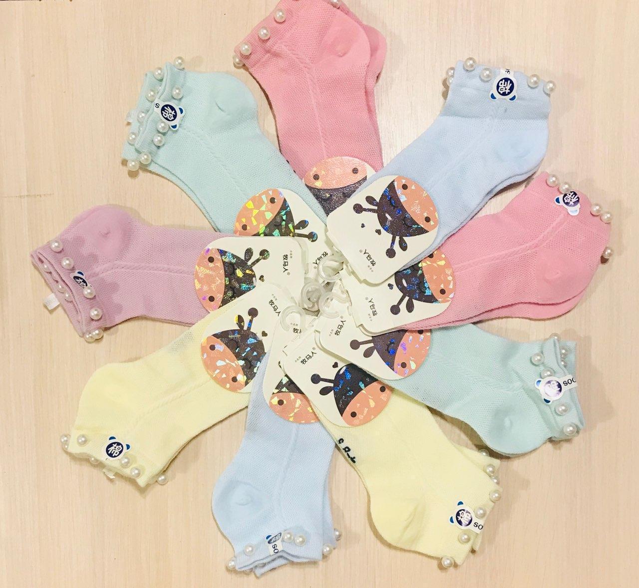 Носки детские летние с сеткой хлопок с жемчугом Happy Baby размер 8-12 года