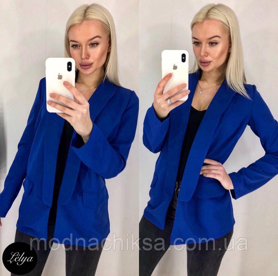 Стильный удлиненный пиджак с карманами