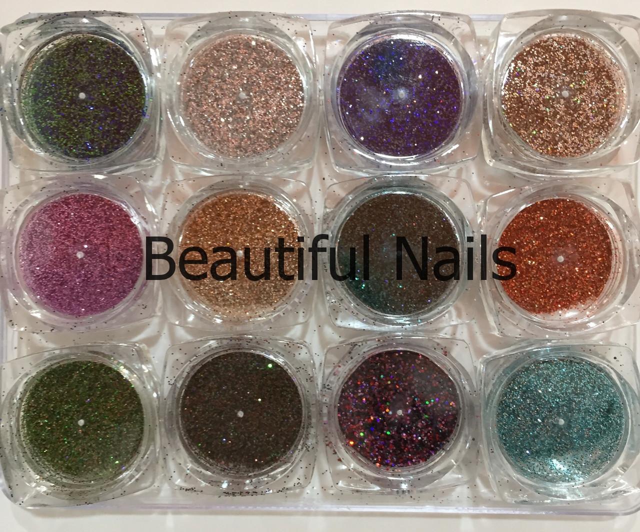 Набір для декору нігтів,мікс темні тони, 12 кольорів