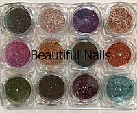 Набір для декору нігтів,мікс темні тони, 12 кольорів, фото 1