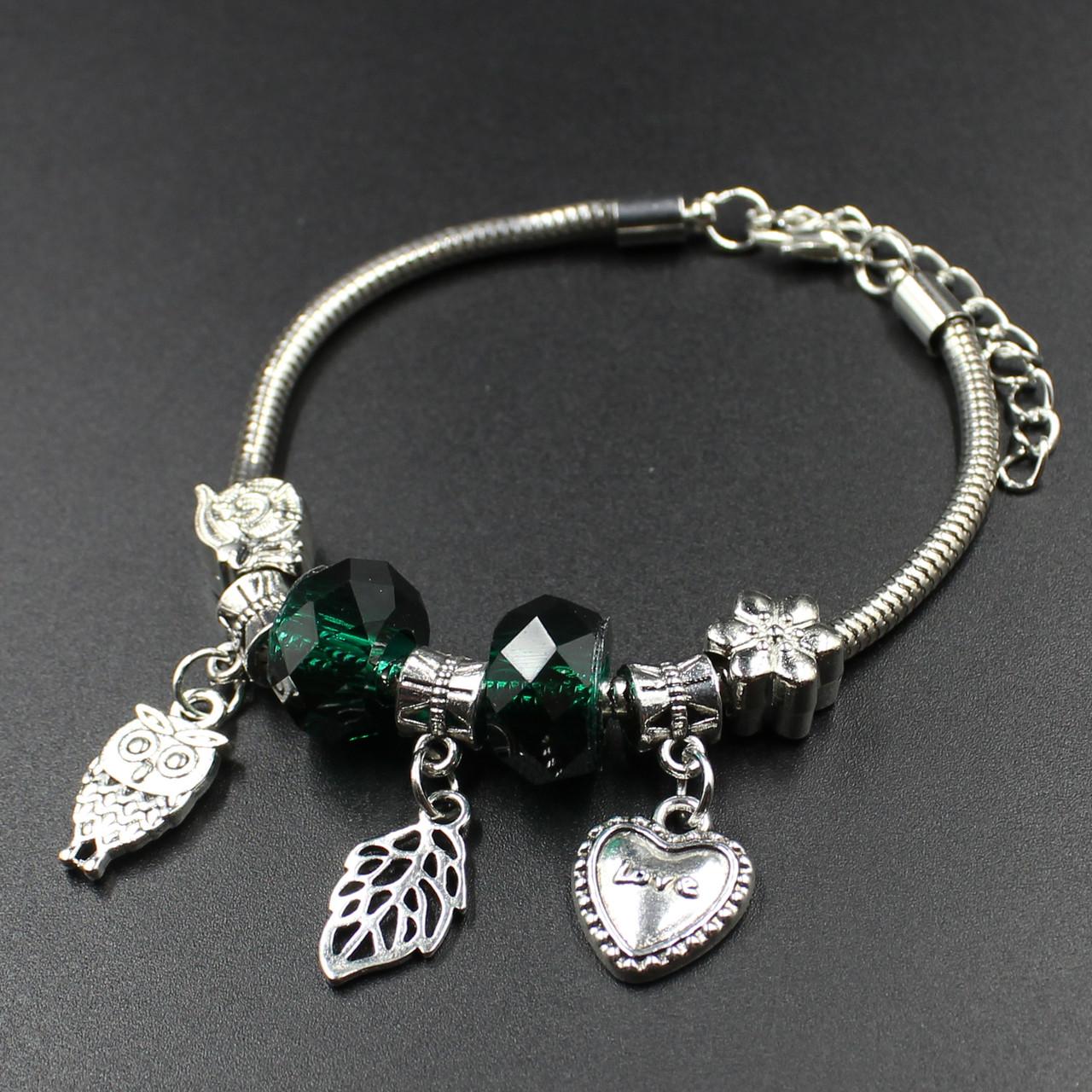 """Женский браслет в стиле Пандора  """"Valteria Green Lux"""""""