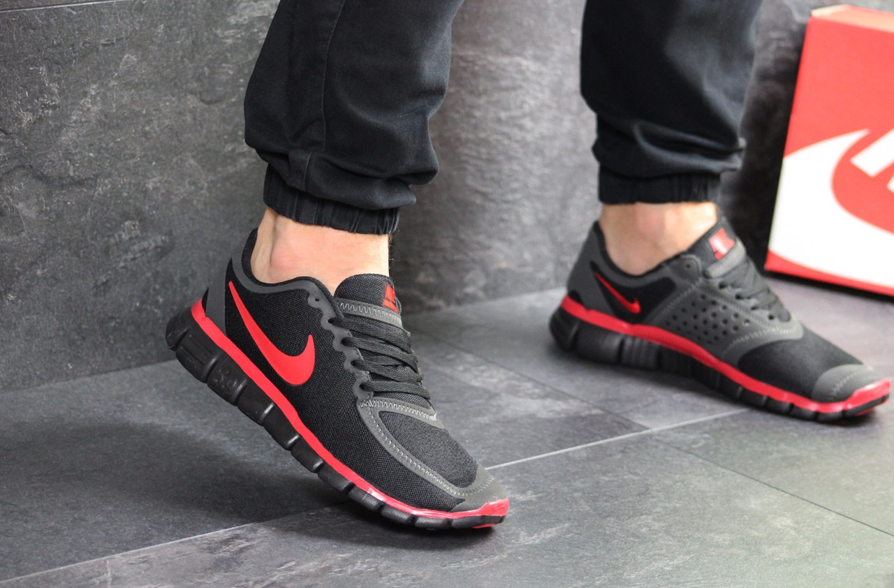 Мужские кроссовки Nike Free Run 5.0 (черно-красные)