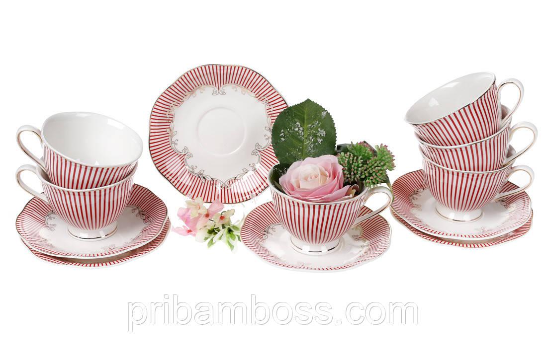 Чайный фарфоровый набор Фрагонар: 6 чашек 250мл + 6 блюдец 15см