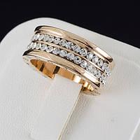 """Божественное кольцо """"BVLGARI"""" с кристаллами Swarovski, покрытое золотом 0639"""