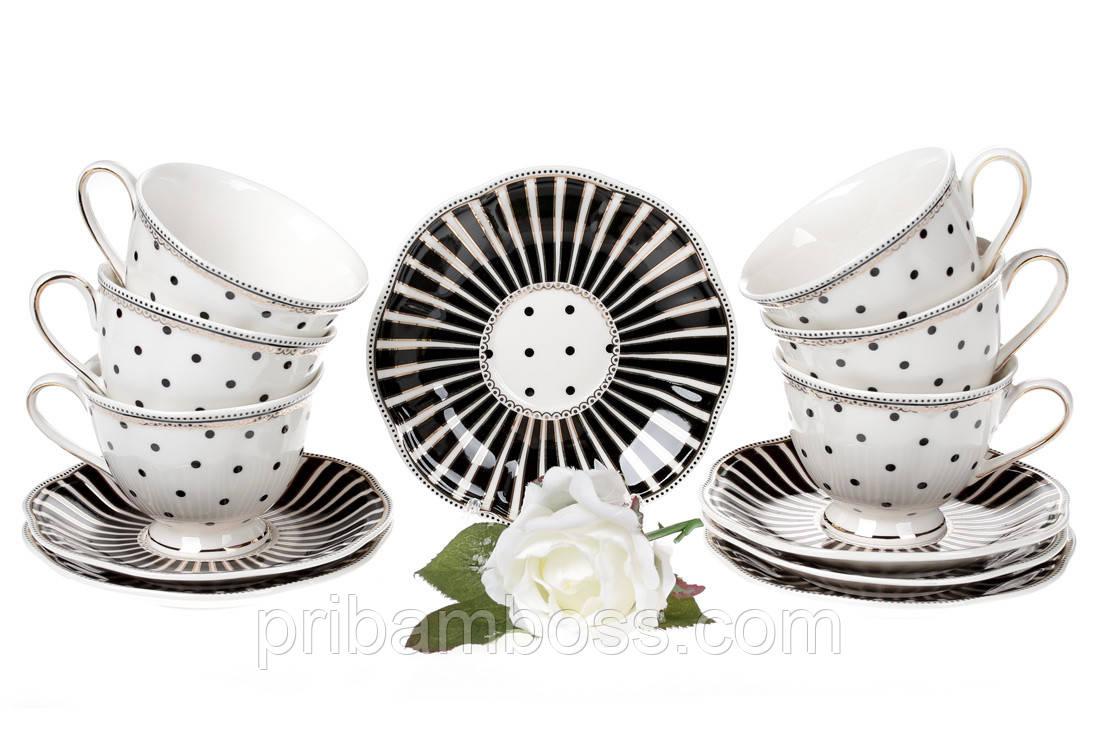 Чайный фарфоровый набор Минималист: 6 чашек 250мл + 6 блюдец 15см