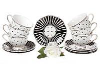 Чайный фарфоровый набор Минималист: 6 чашек 250мл + 6 блюдец 15см, фото 1