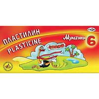 Пластилин ГАММА-Рос Мультики 280015, 6 цветов, стек