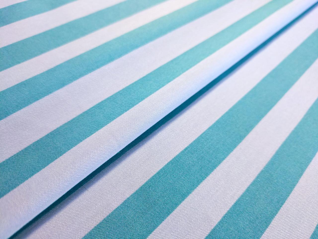 Джинс рубашечный полоска 12 мм, ментол на белом