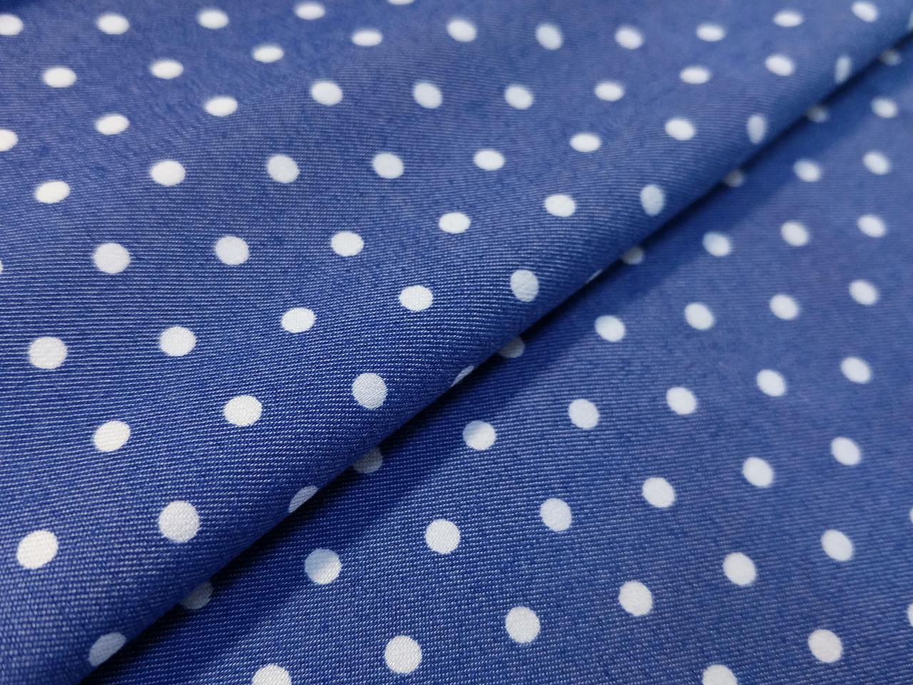 Джинс рубашечный горох 4 мм, синий
