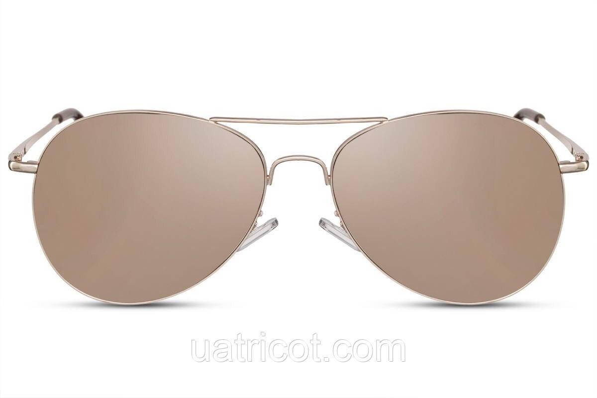 Мужские солнцезащитные очки авиаторы в золотой металлической оправе