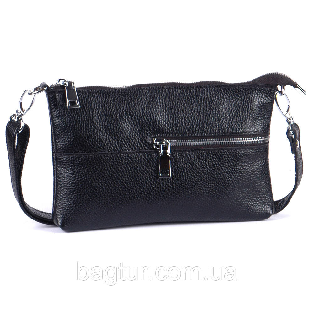 Кожаная женская сумочка 10 черный флотар 01100101