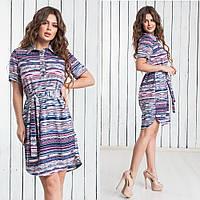Платье-рубашка суперсофт (44-50) полоса, фото 1
