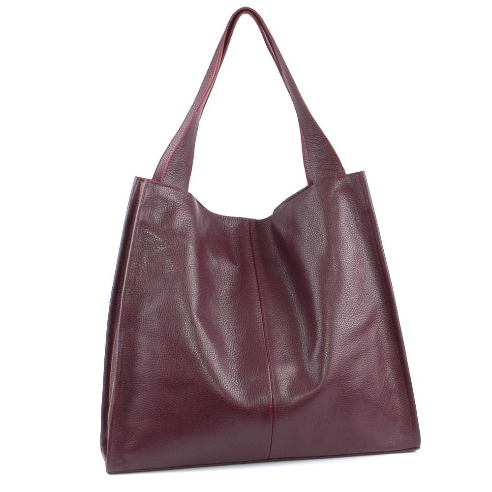 Женская кожаная сумка-шопер 12 виноградный флотар 01120104