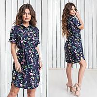 Платье-рубашка суперсофт (44-50) цветы, фото 1