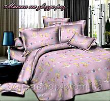 """Детский комплект постельного белья в кроватку Тет-а-тет """"Мишка на звезде розовый"""" (простынь на резинке)"""