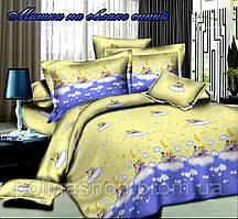 """Детский комплект постельного белья в кроватку Тет-а-тет """"Мишка на облаке синий"""" (простынь на резинке)"""