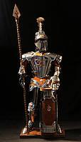 Коллекционный рыцарь высотой 110 см с замшей и медью, копьем и большим щитом - баром