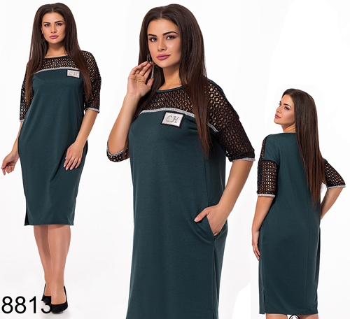 Летнее женское платье миди с карманами (бутылка) 828813