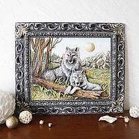 Картина пано объемная Пара волков КР 903 цветная