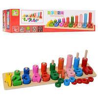 Деревянная игрушка Геометрика, геометрические фигуры, цифры, кольца
