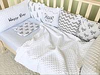 Комплект Tim Family Ua Happy Baby Grey из бортиков и простынки в кроватку