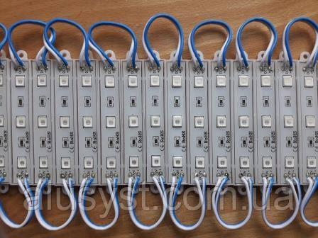 Світлодіодний 3-led модуль smd 5730 | 12V-1.4 W, IP67, кольоровий
