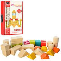 Деревянная игрушка Городок 496-A002, 30 деталей, обучающие кубики конструктор