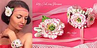 """""""Розовые эустомы"""" (заколка+браслет) украшения для девушки с цветами из полимерной глины"""