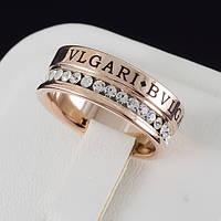 """Восхитительное кольцо """"BVLGARI"""" с кристаллами Swarovski, покрытое золотом 0640"""