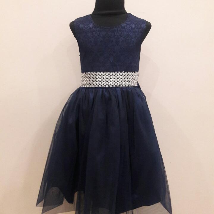 Платье синее на выпускной для девочки 7-12 лет