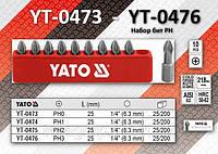 "Набор бит крестовых PН3 х 1/4"", 10шт, YATO YT-0476"