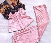 Бархатный костюм для дома штаны и майка персик 04