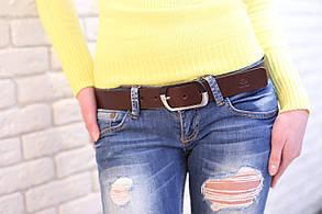 Кожаный ремень женский Domenica, шоколад , фото 2