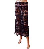 """Вязаная длинная юбка с ажурными принтами""""фестоны"""" черного цвета ручной работы"""
