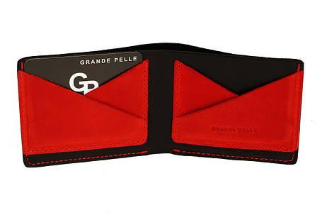 Кожаное мужское портмоне Grande Pelle 54111060 мужской кошелек черный с красным, фото 2