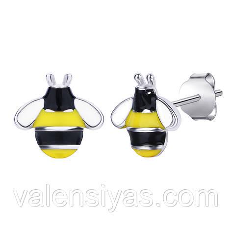 Срібні сережки Бджоли С2ЕЦ/1245, фото 2