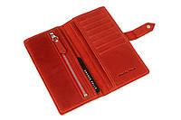 Кожаное женское портмоне Grande Pelle 523160 женский кошелек красный